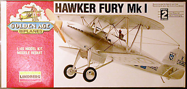 "Lindberg #72562 Hawker Fury Mk.I ""Golden Age Biplanes"" 1:48 Model Kit Biplane aircraft"