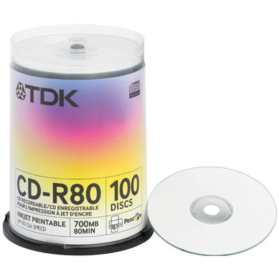 TDK CD-R80PWWCBA100 / CD-R 100 CAKE 52x 700MB PRINTABLE TDK CD-R 100 CAKE 52x 700MB PRINTABLE
