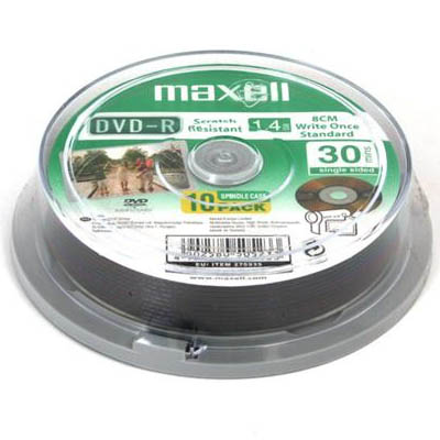 MAXELL DVD-R 1,4GB MINI 10CAKE 30 MIN SCRATCH PROOF /11151030 Δίσκοι MINI DVD-R 1.4GB 30min σε cake των 10 τμχ.