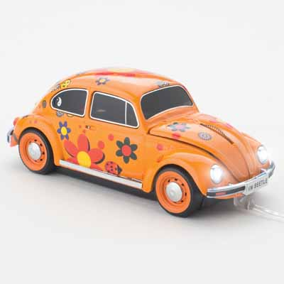 VW BEETLE FLOWER POWER ORANGE WIRED CLICK CAR MOUSE /CCM660462 Ενσύρματο ποντίκι Plug&Play USB