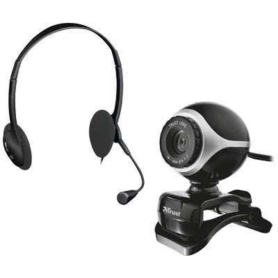 TRUST 17028 EXIS CHATPACK BLACK Σετ chat webcam + headset Exis
