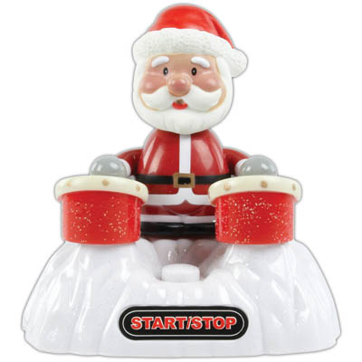 CMP-USB XMAS20 USB DRUMMING SANTA CLAUS This USB powered Santa Claus happily drums four Christmas songs for you. During the drumming, blue LEDs will light up. The music can be turned on and off with the button between the two drums. Can be connected very