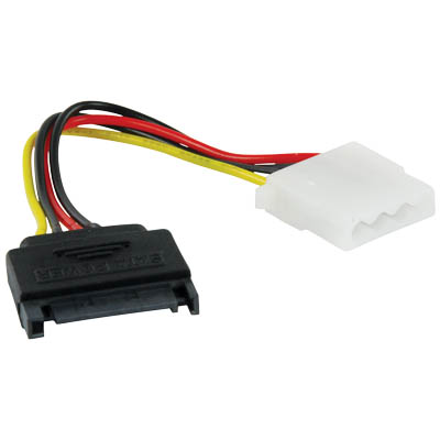 CABLE-277 SATA POWER CABLE Καλώδιο SATA 15pin αρσ. - molex 4pin θηλ.