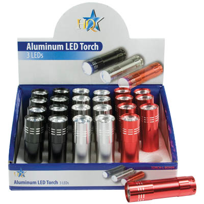 TORCH-L-BOX 04 ALUMINIUM TORCH 24 DIVICES Φακοί αλουμίνιου με 3 LED σε συσκευασία - εκθετήριο 24 τεμαχίων