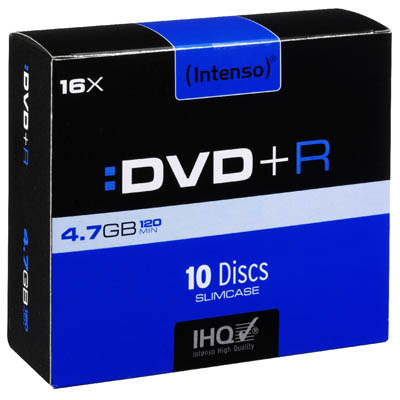 INTENSO 05222 DVD+R 4,7 GB 16x 10 SLIM CASE /4111652 DVD+R 4,7GB, 16x Speed