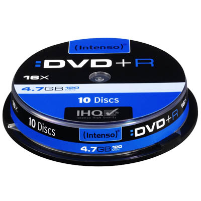 INTENSO 04454 DVD+R 4,7 GB 16x 10 CAKE BOX /4111152 DVD+R 4,7GB, 16x Speed