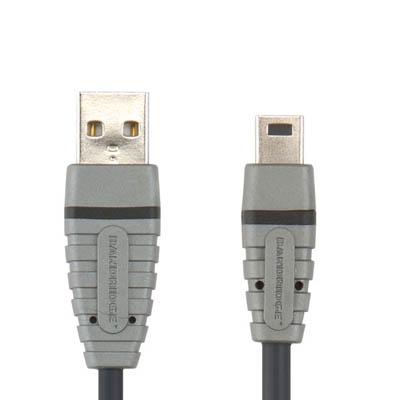BCL4402 USB-A M - USB Mini 5pin 2m Καλώδιο USB Bandridge Blue line, USB-A male - USB mini σε μήκος 2m.