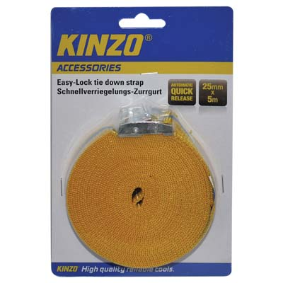 KINZO 71868 RATCHET TIE DOWN 25MMX5MTR Ιμάντας πρόσδεσης Easy lock