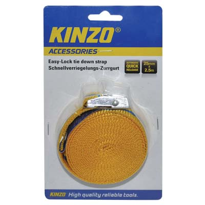 KINZO 71869 RATCHET TIE DOWN 25MMX2.5MTR Ιμάντας πρόσδεσης (Easy lock)
