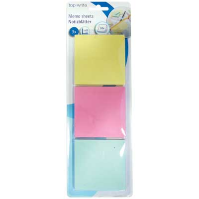 TOPWRITE 45267 MEMO SHEETS 50PCS 3PCS 75X75MM Αυτοκόλλητα χαρτάκια Post it