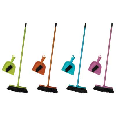 ED 93819 BROOM & DUSTPAN & BROOM 3PCS 4ASS COLOUR Σετ καθαρισμού