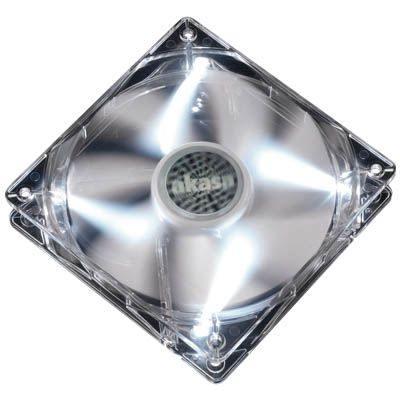 AKASA FN055 12CM CRYSTAL CLEAR FAN FRAME AND WHITE ROTOR Ανεμιστήρας Η/Υ 120mm με λευκα LED.