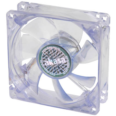 AKASA 170CB-4BLS 8CM CRYSTAL BLUE FAN WITH 4 BLUE LED Ανεμιστήρας Η/Υ 80mm με μπλέ LED.