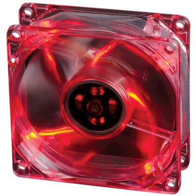 AKASA 170CR-4RDS 8CM CRYSTAL RED FRAME ROTOR BLADEW/4 RED LED Ανεμιστήρας Η/Υ 80mm με κόκκινο LED