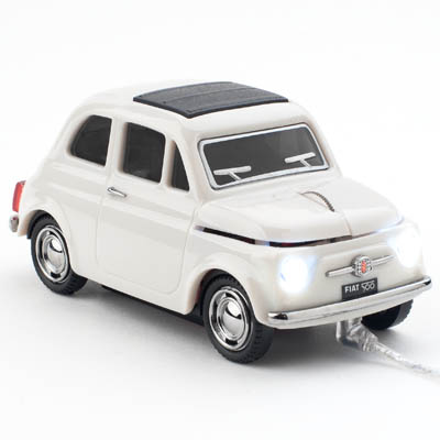 FIAT 500 OLD WIRED COOL GRAY CLICK CAR MOUSE / CCM660028 Ενσύρματο οπτικό USB ποντίκι Fiat 500.
