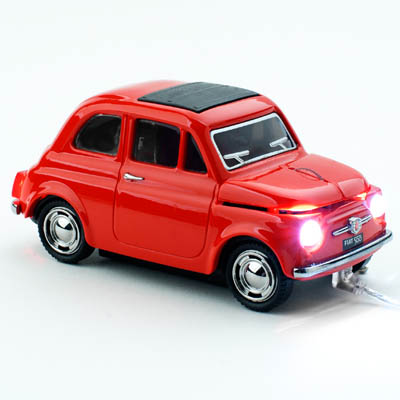 FIAT 500 OLD WIRED RED CLICK CAR MOUSE / CCM660035 Ενσύρματο οπτικό USB ποντίκι - Fiat 500.