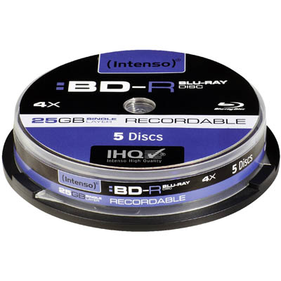 INTENSO 11810 BD-R 4x 25GB 5er CAKE BOX BLU RAY RECORD /5001111 BD-R 25GB, 4x Speed -