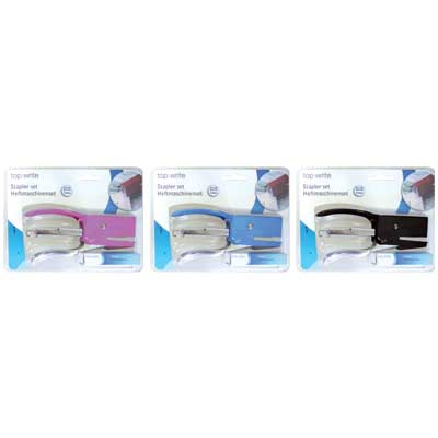 TOPWRITE 45186 STAPLER SET 3ASS COLOUR Σετ συρραπτικών