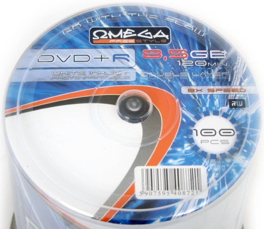 Omega +DL 8.5GB Printable FF CakeBox10 DUAL LAYER